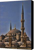 Turkey Photo Canvas Prints - The Blue Mosque in Istanbul Turkey Canvas Print by David Smith