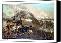 Battle Canvas Prints - The Capture Of Fort Fisher Canvas Print by War Is Hell Store