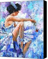 Blue Flowers Painting Canvas Prints - The Dancer Canvas Print by Igor Postash