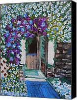Blue Rose Prints Canvas Prints - The Door Canvas Print by Suzanne Thomas
