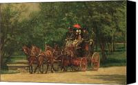 Carriages Canvas Prints - The Fairman Rogers Coach and Four Canvas Print by Thomas Cowperthwait Eakins