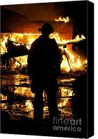 Fire Fighter Canvas Prints - The Fireman Canvas Print by Benanne Stiens