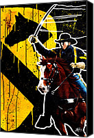 Cowboy Mixed Media Canvas Prints - The First Team Canvas Print by Michael Figueroa