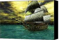 Corel Painter Canvas Prints - The Flying Dutchman Canvas Print by Sandra Bauser Digital Art