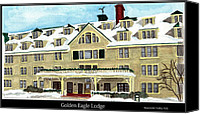 Winter Posters Canvas Prints - The Golden Eagle Lodge Canvas Print by Tina Zachary