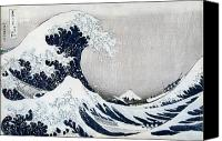 Great Painting Canvas Prints - The Great Wave of Kanagawa Canvas Print by Hokusai