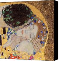 Austrian Canvas Prints - The Kiss Canvas Print by Gustav Klimt