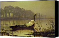 Atkinson Canvas Prints - The Lady of Shalott Canvas Print by John Atkinson Grimshaw