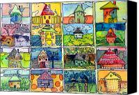 Fun Houses Canvas Prints - The Little Houses Canvas Print by Mindy Newman