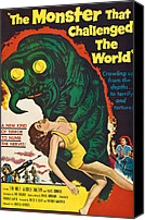 1950s Movies Canvas Prints - The Monster That Challenged The World Canvas Print by Everett