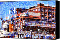 Old Town Digital Art Canvas Prints - The Old C and H Pure Cane Sugar Plant in Crockett California . 5D16769 Canvas Print by Wingsdomain Art and Photography