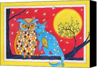 Night Sky Painting Canvas Prints - The Owl and the Pussycat Canvas Print by Renata Wright