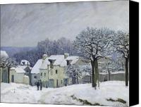 Snowy Trees Painting Canvas Prints - The Place du Chenil at Marly le Roi Canvas Print by Alfred Sisley