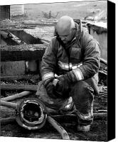 Dana Oliver Canvas Prints - The Praying Firefighter black and white Canvas Print by Dana  Oliver