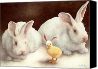Easter Bunny Painting Canvas Prints - The Recruit... Canvas Print by Will Bullas