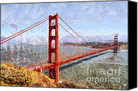 Ocean Digital Art Canvas Prints - The San Francisco Golden Gate Bridge . 7D14507 Canvas Print by Wingsdomain Art and Photography