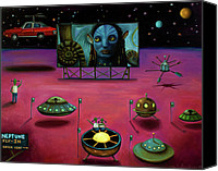 Drive-in Movie Painting Canvas Prints - The Sighting At The Neptune Fly In Canvas Print by Leah Saulnier The Painting Maniac