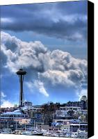 Seattle Tapestries Textiles Canvas Prints - The Space Needle Canvas Print by David Patterson