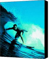 Surfing Canvas Prints - The Surfer Canvas Print by Val Designs