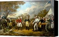 Continental Army Canvas Prints - The Surrender of General Burgoyne Canvas Print by War Is Hell Store