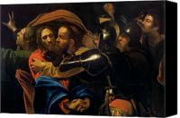 Bible Canvas Prints - The Taking of Christ Canvas Print by Michelangelo Caravaggio