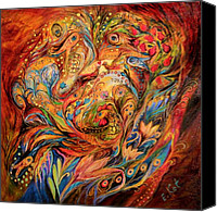 Figurative Canvas Prints - The tale about fiery Rooster Canvas Print by Elena Kotliarker
