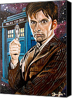 Sonic Canvas Prints - The Tenth Doctor and his TARDIS Canvas Print by Emily Jones