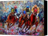 Race Horse Prints Canvas Prints - The Turn Canvas Print by Debra Hurd