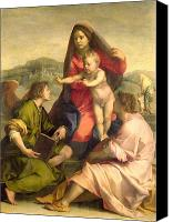 Father Christmas Canvas Prints - The Virgin and Child with a Saint and an Angel Canvas Print by Andrea del Sarto
