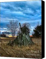 Indiana Canvas Prints - The Woodstack Canvas Print by Julie Dant