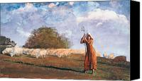 The Shepherdess Canvas Prints - The Young Shepherdess Canvas Print by Winslow Homer