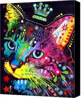 Animal Art Print Mixed Media Canvas Prints - Thinking Cat Crowned Canvas Print by Dean Russo
