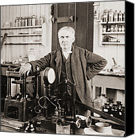 Inventors Canvas Prints - Thomas A. Edison 1847-1931, In His West Canvas Print by Everett