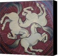 Escher Canvas Prints - Three Horses Canvas Print by Sophy White