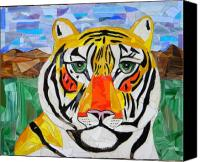 Cat Glass Art Canvas Prints - Tiger Canvas Print by Charles McDonell
