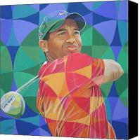 Woods Drawings Canvas Prints - Tiger Woods Canvas Print by Joshua Morton