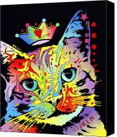 Dean Russo Mixed Media Canvas Prints - Tilted Cat Crowned Canvas Print by Dean Russo