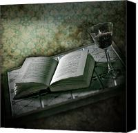 Wine Glass Photo Canvas Prints - Time To Read Canvas Print by Joana Kruse