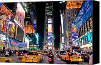 Signs Canvas Prints - Times Square Canvas Print by June Marie Sobrito