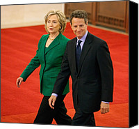 Bswh052011 Canvas Prints - Timothy Geithner And Hillary Clinton Canvas Print by Everett
