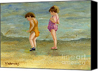 Little Girls Canvas Prints - Toddlers On The Shore Canvas Print by Vicky Watkins