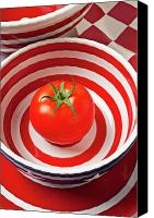 Tomatoes Tapestries Textiles Canvas Prints - Tomato in red and white bowl Canvas Print by Garry Gay