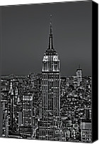 New York Skyline Canvas Prints - Top of the Rock BW Canvas Print by Susan Candelario