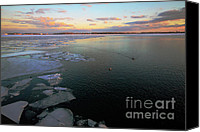 Canadian Landscape Canvas Prints - Toronto Inner Harbour Winter Canvas Print by Charline Xia
