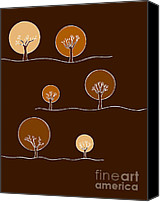 Brown Drawings Canvas Prints - Trees Canvas Print by Frank Tschakert