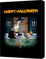 Gx9 Canvas Prints - Trick or Treat Time for Little Ducks Canvas Print by Gravityx Designs