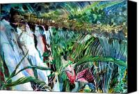 Mystical Drawings Canvas Prints - Tropical Waterfall Canvas Print by Mindy Newman