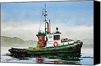 Tugboat Canvas Prints - Tugboat LELA FOSS Canvas Print by James Williamson