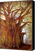 Handmade Paper Canvas Prints - Tule Tree Canvas Print by Juan Jose Espinoza