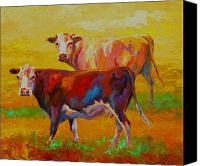 Ranching Canvas Prints - Two Cows Canvas Print by Marion Rose